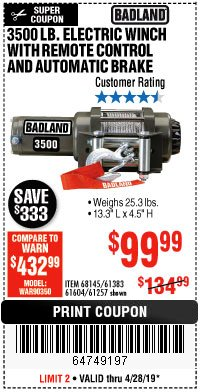 Harbor Freight Coupon 3500 LB. ELECTRIC WINCH WITH REMOTE CONTROL AND AUTOMATIC BRAKE Lot No. 68145/61383/61604/61257 Expired: 4/28/19 - $99.99
