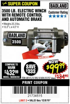 Harbor Freight Coupon 3500 LB. ELECTRIC WINCH WITH REMOTE CONTROL AND AUTOMATIC BRAKE Lot No. 61383/61604/61257 Expired: 12/8/19 - $99.99