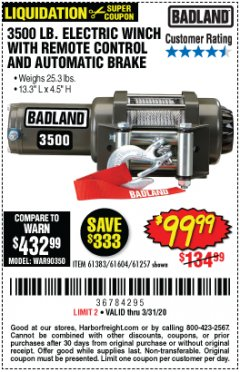 Harbor Freight Coupon 3500 LB. ELECTRIC WINCH WITH REMOTE CONTROL AND AUTOMATIC BRAKE Lot No. 61383/61604/61257 Valid: 2/24/20 - 3/31/20 - $99.99