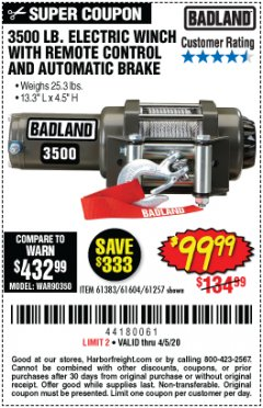 Harbor Freight Coupon 3500 LB. ELECTRIC WINCH WITH REMOTE CONTROL AND AUTOMATIC BRAKE Lot No. 61383/61604/61257 Valid Thru: 4/5/20 - $99.99