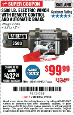 Harbor Freight Coupon 3500 LB. ELECTRIC WINCH WITH REMOTE CONTROL AND AUTOMATIC BRAKE Lot No. 61383/61604/61257 Expired: 3/22/20 - $99.99