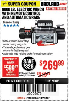 Harbor Freight Coupon 9000 LB. ELECTRIC WINCH WITH REMOTE CONTROL AND AUTOMATIC BRAKE Lot No. 61346/61325/62596/62278/68143 EXPIRES: 10/28/18 - $269.99