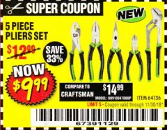 Harbor Freight Coupon 5PIECE PLIERS SET Lot No. 62598/69351/69352/69353/62597 Expired: 11/30/18 - $9.99