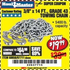 "Harbor Freight Coupon 3/8"" x 14 FT. GRADE 43 TOWING CHAIN Lot No. 97711/60658 Valid Thru: 4/1/19 - $19.99"
