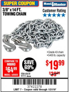 "Harbor Freight Coupon 3/8"" x 14 FT. GRADE 43 TOWING CHAIN Lot No. 97711/60658 Expired: 1/21/19 - $19.99"