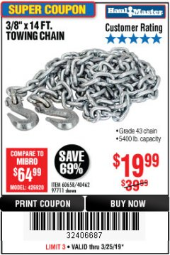 "Harbor Freight Coupon 3/8"" x 14 FT. GRADE 43 TOWING CHAIN Lot No. 97711/60658 Expired: 3/24/19 - $19.99"