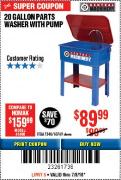 Harbor Freight Coupon 20 GALLON PARTS WASHER WITH PUMP Lot No. 7340/60769/94702 Expired: 7/8/18 - $89.99