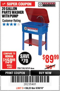 Harbor Freight Coupon 20 GALLON PARTS WASHER WITH PUMP Lot No. 7340/60769/94702 Expired: 9/30/18 - $89.99
