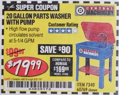 Harbor Freight Coupon 20 GALLON PARTS WASHER WITH PUMP Lot No. 7340/60769/94702 Expired: 8/31/19 - $79.99
