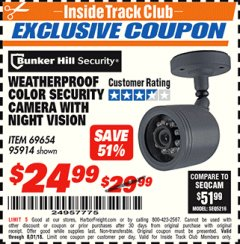 Harbor Freight ITC Coupon WEATHERPROOF COLOR SECURITY CAMERA WITH NIGHT VISION Lot No. 95914/69654 Expired: 8/31/18 - $24.99