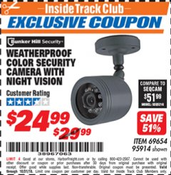 Harbor Freight ITC Coupon WEATHERPROOF COLOR SECURITY CAMERA WITH NIGHT VISION Lot No. 95914/69654 Expired: 10/31/18 - $24.99