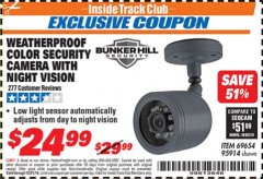 Harbor Freight ITC Coupon WEATHERPROOF COLOR SECURITY CAMERA WITH NIGHT VISION Lot No. 95914/69654 Expired: 12/31/18 - $24.99