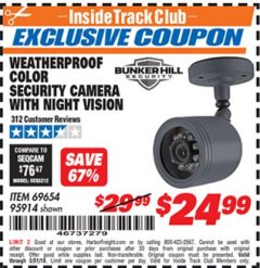 Harbor Freight ITC Coupon WEATHERPROOF COLOR SECURITY CAMERA WITH NIGHT VISION Lot No. 95914/69654 Expired: 5/31/19 - $24.99
