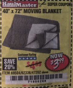 "Harbor Freight Coupon 40"" x 72"" MOVER'S BLANKET Lot No. 47262/69504/62336 Expired: 2/5/19 - $3.99"