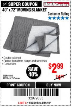 "Harbor Freight Coupon 40"" x 72"" MOVER'S BLANKET Lot No. 47262/69504/62336 Expired: 3/24/19 - $2.99"