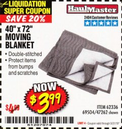"Harbor Freight Coupon 40"" x 72"" MOVER'S BLANKET Lot No. 47262/69504/62336 Expired: 5/31/19 - $3.99"