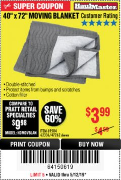 "Harbor Freight Coupon 40"" x 72"" MOVER'S BLANKET Lot No. 47262/69504/62336 Expired: 5/12/19 - $3.99"
