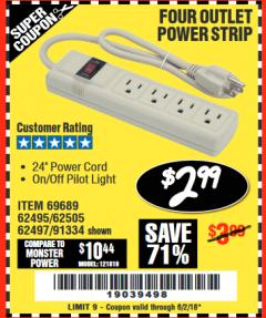 Harbor Freight Coupon FOUR OUTLET POWER STRIP Lot No. 91334/69689/62495/62505/62497 Expired: 6/2/18 - $2.99