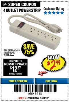 Harbor Freight Coupon FOUR OUTLET POWER STRIP Lot No. 91334/69689/62495/62505/62497 Expired: 9/30/18 - $2.99
