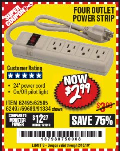 Harbor Freight Coupon FOUR OUTLET POWER STRIP Lot No. 91334/69689/62495/62505/62497 Expired: 2/16/19 - $2.99
