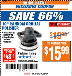 "Harbor Freight ITC Coupon 10"" RANDOM ORBIT POLISHER Lot No. 43424/61898/61420 Expired: 10/30/18 - $15.99"
