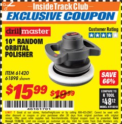 "Harbor Freight ITC Coupon 10"" RANDOM ORBIT POLISHER Lot No. 43424/61898/61420 Expired: 11/30/18 - $15.99"