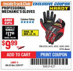 Harbor Freight ITC Coupon PROFESSIONAL MECHANIC'S GLOVES Lot No. 62524/68307/68308/62525/68309/62526 Expired: 2/28/19 - $9.99
