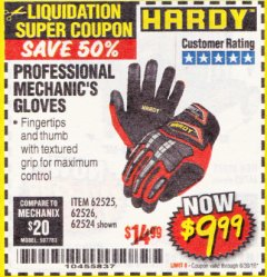 Harbor Freight Coupon PROFESSIONAL MECHANIC'S GLOVES Lot No. 62524/68307/68308/62525/68309/62526 Expired: 6/30/18 - $9.99