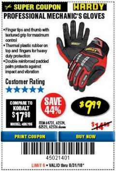 Harbor Freight Coupon PROFESSIONAL MECHANIC'S GLOVES Lot No. 62524/68307/68308/62525/68309/62526 Expired: 8/31/18 - $9.99