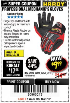 Harbor Freight Coupon PROFESSIONAL MECHANIC'S GLOVES Lot No. 62524/68307/68308/62525/68309/62526 EXPIRES: 10/31/18 - $9.99