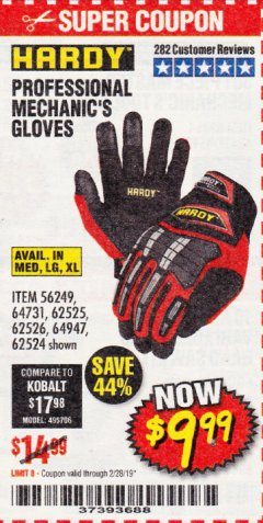 Harbor Freight Coupon PROFESSIONAL MECHANIC'S GLOVES Lot No. 62524/68307/68308/62525/68309/62526 EXPIRES: 2/28/19 - $9.99