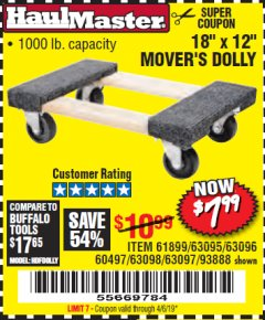 "Harbor Freight Coupon 18"" X 12"" HARDWOOD MOVER'S DOLLY Lot No. 93888/60497/61899/62399/63095/63096/63097/63098 Valid Thru: 4/6/19 - $7.99"