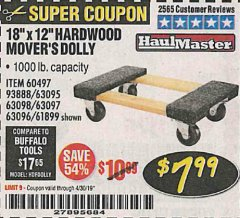 "Harbor Freight Coupon 18"" X 12"" HARDWOOD MOVER'S DOLLY Lot No. 93888/60497/61899/62399/63095/63096/63097/63098 Expired: 4/30/19 - $7.99"