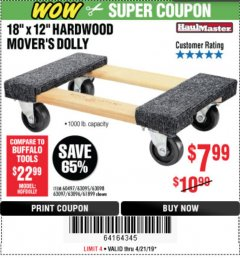 "Harbor Freight Coupon 18"" X 12"" HARDWOOD MOVER'S DOLLY Lot No. 93888/60497/61899/62399/63095/63096/63097/63098 Expired: 4/21/19 - $7.99"
