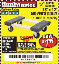 "Harbor Freight Coupon 18"" X 12"" HARDWOOD MOVER'S DOLLY Lot No. 93888/60497/61899/62399/63095/63096/63097/63098 Valid Thru: 7/19/19 - $7.99"