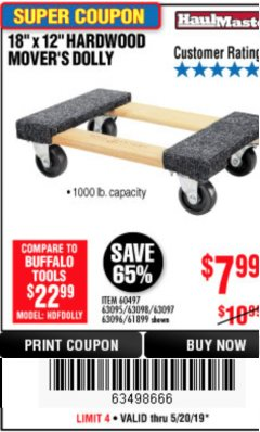 "Harbor Freight Coupon 18"" X 12"" HARDWOOD MOVER'S DOLLY Lot No. 93888/60497/61899/62399/63095/63096/63097/63098 Expired: 5/20/19 - $7.99"