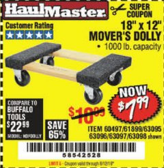 "Harbor Freight Coupon 18"" X 12"" HARDWOOD MOVER'S DOLLY Lot No. 93888/60497/61899/62399/63095/63096/63097/63098 Valid Thru: 8/12/19 - $7.99"
