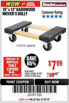 "Harbor Freight Coupon 18"" X 12"" HARDWOOD MOVER'S DOLLY Lot No. 93888/60497/61899/62399/63095/63096/63097/63098 Expired: 6/16/19 - $7.99"