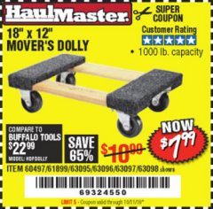 "Harbor Freight Coupon 18"" X 12"" HARDWOOD MOVER'S DOLLY Lot No. 93888/60497/61899/62399/63095/63096/63097/63098 Valid Thru: 10/11/19 - $7.99"