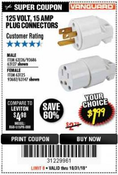 Harbor Freight Coupon 125 VOLT, 15 AMP MALE OR FEMALE CONNECTOR Lot No. 93686/63147/93687/63125/63126/63127 Expired: 10/31/18 - $1.99