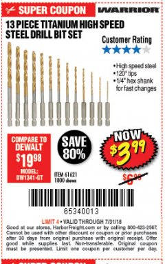 Harbor Freight Coupon 13 PIECE TITANIUM NITRIDE COATED HIGH SPEED STEEL DRILL BITS Lot No. 1800/61621 Expired: 7/31/18 - $3.99