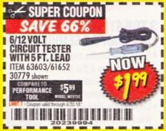 Harbor Freight Coupon 6/12V CIRCUIT TESTER WITH 5 FT. LEAD Lot No. 63603/30779/61652 Expired: 6/30/18 - $1.99
