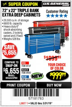 "Harbor Freight Coupon 72"" X 22"" TRIPLE BANK EXTRA DEEP CABINET Lot No. 61656/64167/64003/64004 Expired: 3/31/19 - $999.99"