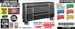 "Harbor Freight Coupon 72"" X 22"" TRIPLE BANK EXTRA DEEP CABINET Lot No. 61656/64167/64003/64004 Expired: 4/28/19 - $999.9"