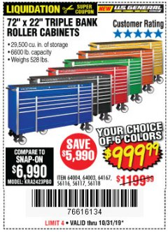 "Harbor Freight Coupon 72"" X 22"" TRIPLE BANK EXTRA DEEP CABINET Lot No. 61656/64167/64003/64004 Valid Thru: 10/31/19 - $999.99"