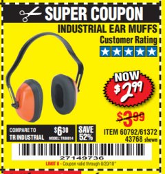 Harbor Freight Coupon INDUSTRIAL EAR MUFFS Lot No. 43768/60792/61372 Expired: 8/20/18 - $2.99