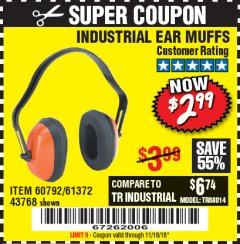 Harbor Freight Coupon INDUSTRIAL EAR MUFFS Lot No. 43768/60792/61372 Expired: 11/18/18 - $2.99
