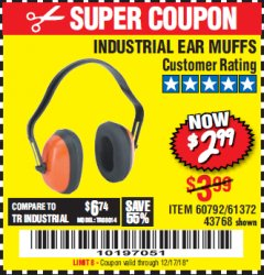 Harbor Freight Coupon INDUSTRIAL EAR MUFFS Lot No. 43768/60792/61372 Expired: 12/17/18 - $2.99