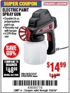 Harbor Freight Coupon 24 OZ. ELECTRIC PAINT SPRAY GUN Lot No. 60446/62267/63452/63060 Expired: 7/23/18 - $14.99