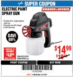 Harbor Freight Coupon 24 OZ. ELECTRIC PAINT SPRAY GUN Lot No. 60446/62267/63452/63060 Expired: 11/11/18 - $14.99